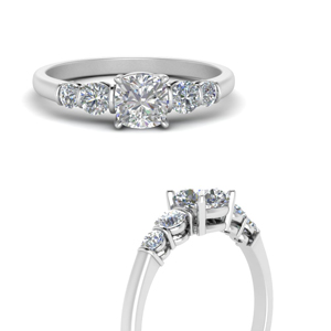 round accent bar set cushion cut diamond engagement ring in white gold FDENS3072CURANGLE3 NL WG