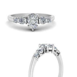 round accent bar set pear shaped diamond engagement ring in white gold FDENS3072PERANGLE3 NL WG