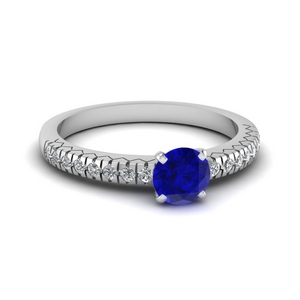 French Pave Sapphire Ring