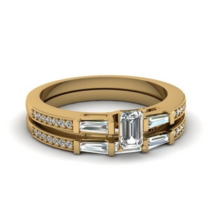 delicate baguette and emerald cut diamond wedding set in FDENS3074EM NL YG 30