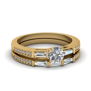 delicate baguette and round diamond wedding set in FDENS3074RO NL YG 30