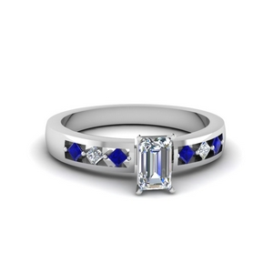 emerald cut kite set diamond engagement ring for women with sapphire in FDENS3075EMRGSABL NL WG