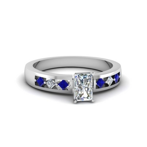 radiant cut kite set diamond engagement ring for women with sapphire in FDENS3075RARGSABL NL WG