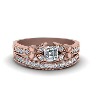 Milgrain Diamond Wedding Set