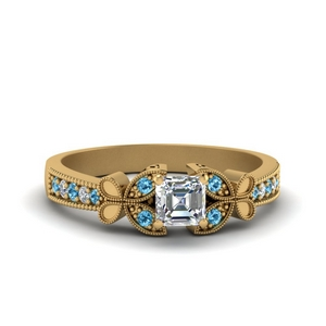 vintage butterfly asscher diamond engagement ring with blue topaz in FDENS3077ASRGICBLTO NL YG