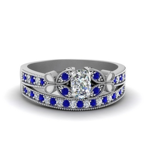 Antique Sapphire Bridal Ring Set