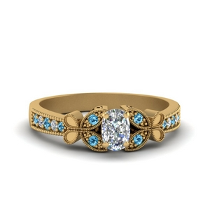vintage butterfly cushion diamond engagement ring with blue topaz in FDENS3077CURGICBLTO NL YG