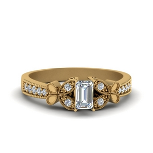 Emerald Cut Butterfly Diamond Ring