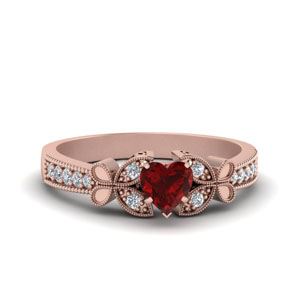 Heart Ruby Vintage Engagement Ring
