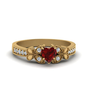 Heart Vintage Ruby Ring