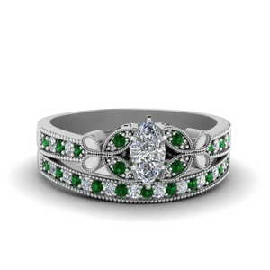 Emerald Butterfly Wedding Set