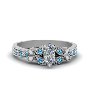 vintage butterfly marquise diamond engagement ring with blue topaz in FDENS3077MQRGICBLTO NL WG