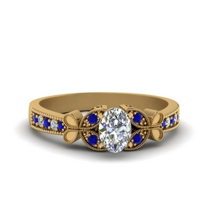 vintage butterfly oval diamond engagement ring with sapphire in FDENS3077OVRGSABL NL YG