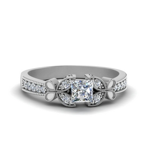 0.75 ct. diamond butterfly milgrain engagement ring in FDENS3077PRR NL WG