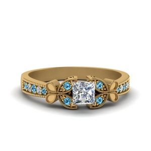 vintage butterfly princess cut diamond engagement ring with blue topaz in FDENS3077PRRGICBLTO NL YG