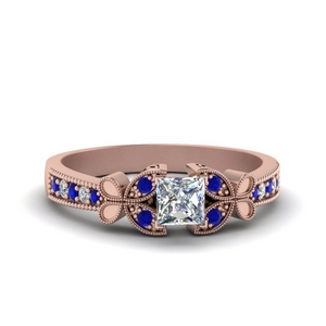Butterfly Milgrain Ring With Sapphire