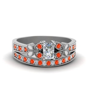 Milgrain Orange Topaz Bridal Set