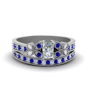 vintage butterfly diamond bridal set with sapphire in FDENS3077RAGSABL NL WG