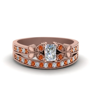 vintage butterfly diamond bridal set with orange sapphire in FDENS3077RAGSAOR NL RG