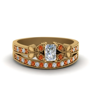 vintage butterfly diamond bridal set with orange sapphire in FDENS3077RAGSAOR NL YG