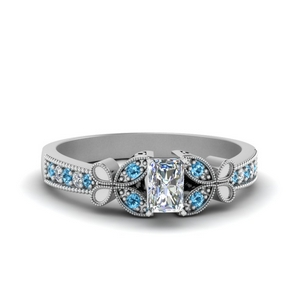 vintage butterfly radiant diamond engagement ring with blue topaz in FDENS3077RARGICBLTO NL WG