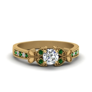 vintage butterfly round diamond engagement ring with emerald in FDENS3077RORGEMGR NL YG