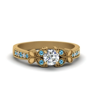vintage butterfly round diamond engagement ring with blue topaz in FDENS3077RORGICBLTO NL YG