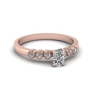 1 ct. diamond petite bezel set cushion cut engagement ring in rose gold FDENS3079CUR NL RG 30