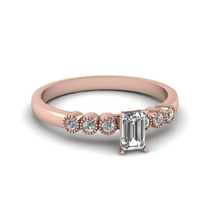 1 ct. diamond petite bezel set emerald cut engagement ring in rose gold FDENS3079EMR NL RG 30