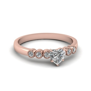1 ct. diamond petite bezel set heart shaped engagement ring in rose gold FDENS3079HTR NL RG 30