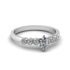 White Gold Marquise Cut Milgrain Engagement Rings