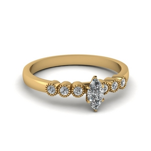 Marquise Shaped Milgrain Ring