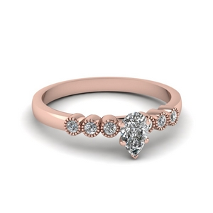 1 ct. diamond petite bezel set pear shaped engagement ring in rose gold FDENS3079PER NL RG 30
