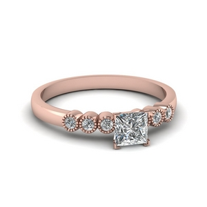 Milgrain Princess Cut Engagement Ring