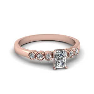 1 ct. diamond petite bezel set radiant cut engagement ring in rose gold FDENS3079RAR NL RG 30