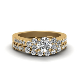 Pave Cluster Wedding Set