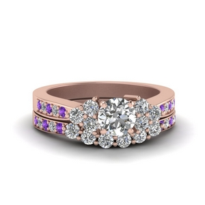 Accent Cluster Wedding Ring Set