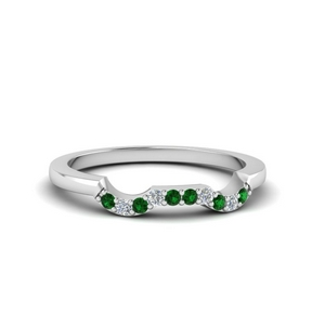 Curve Emerald Wedding Band
