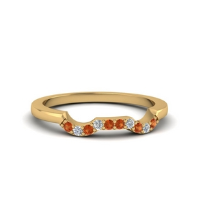 Prong Set Orange Sapphire Band