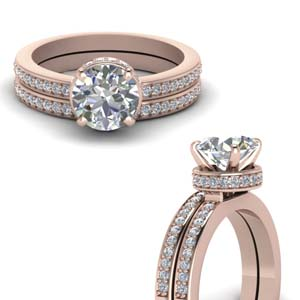 Pave Hidden Halo Diamond Bridal Set