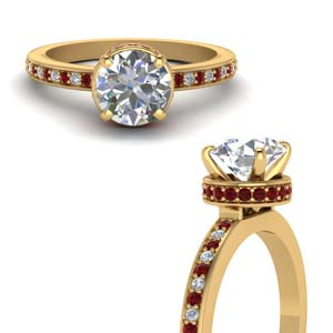 Half Carat Diamond Ring With Ruby