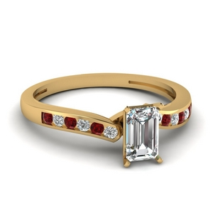 emerald cut diamond channel wedding ring with ruby in FDENS3092EMRGRUDR NL YG.jpg