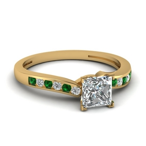 Channel Wedding Ring With Emerald
