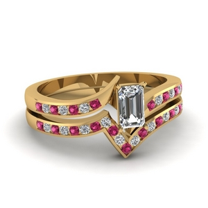 Pink Sapphire Twisted Ring Set