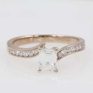 channel set twisted diamond engagement ring in 14K rose gold FDENS3094EMR