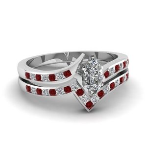 Marquise Shaped Ruby Bridal Set