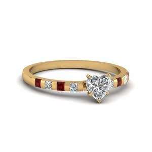 Delicate Bar Set Ruby Wedding Ring
