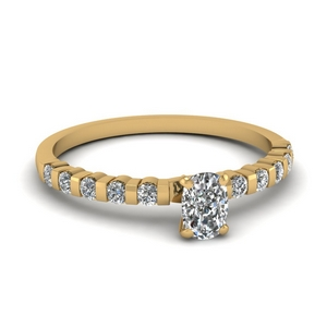 Bar Set Cushion Diamond Ring