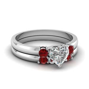 Ruby Heart Diamond Set