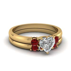 Three Stone Ruby Ring And Band
